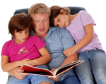 Dad and Children Reading Photo